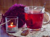 Herb tea and aroma candle