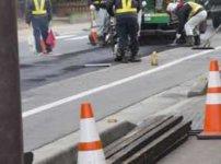 日本の道路工事のようす