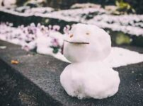 道端のちっちゃな雪だるま