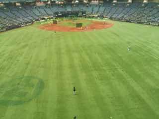 野球場の外野から内野を見る