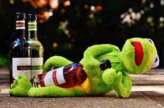 お酒の瓶を抱えて寝るカエルのぬいぐるみ