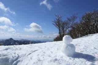 青空と雪原に雪だるま