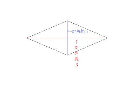 ひし形面積を求める公式の図解①