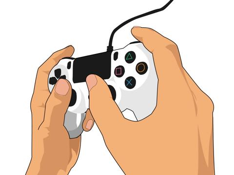 ゲームのコントローラーを握るイラスト