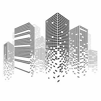 消えゆくビル街のイラスト