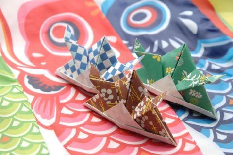 こいのぼりと兜の折り紙