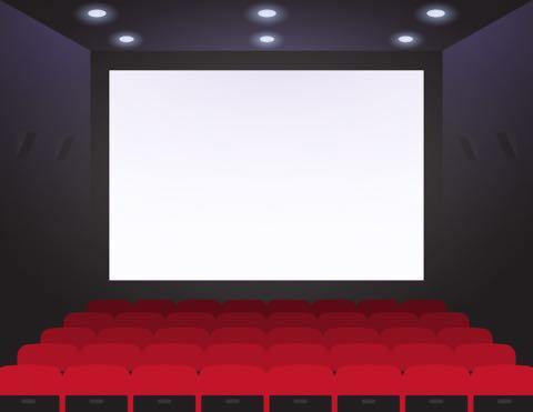 映画館のスクリーンと座席のイラスト