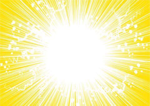 黄色地に白の火花