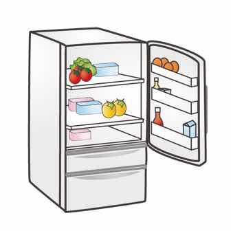 ドアのあいた冷蔵庫のイラスト
