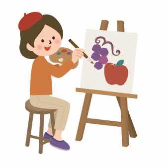 キャンバスに絵を描く女性のイラスト