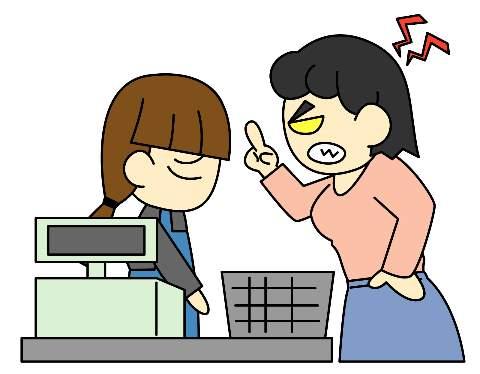 客に叱責されるレジ店員