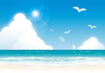 青い海と空と砂浜のイラスト